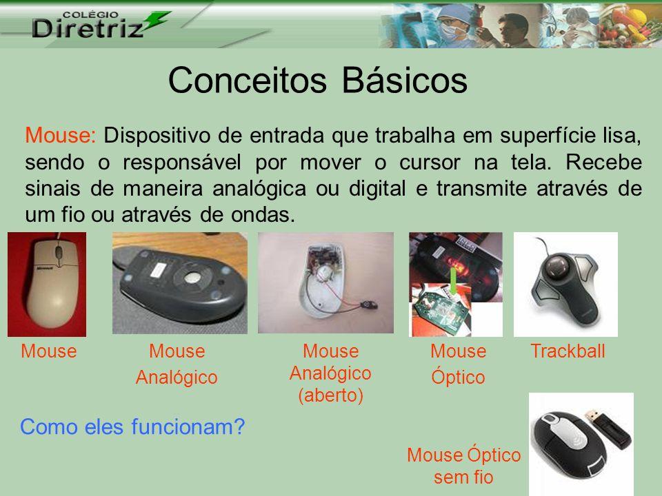 Conceitos Básicos Mouse: Dispositivo de entrada que trabalha em superfície lisa, sendo o responsável por mover o cursor na tela. Recebe sinais de mane