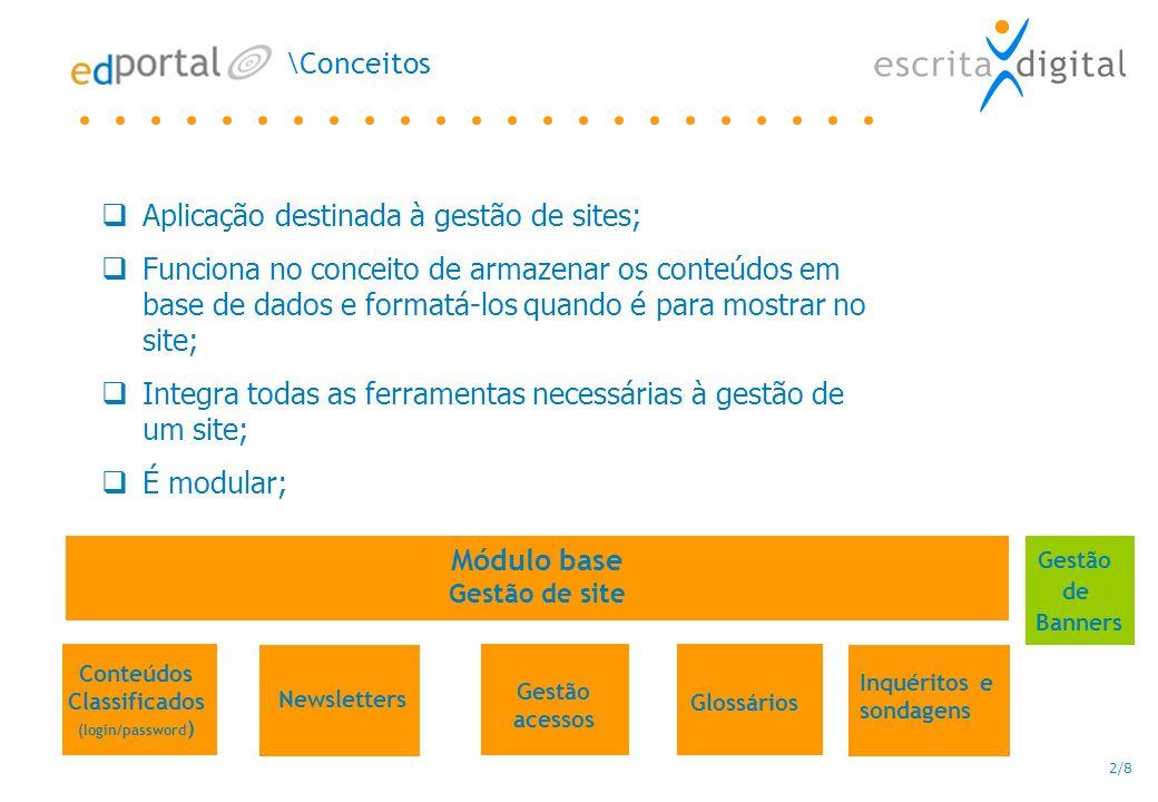 2/8 Conteúdos Classificados (login/password ) Newsletters Inquéritos e sondagens Glossários \Conceitos Gestão de Banners Aplicação destinada à gestão de sites; Funciona no conceito de armazenar os conteúdos em base de dados e formatá-los quando é para mostrar no site; Integra todas as ferramentas necessárias à gestão de um site; É modular; Módulo base Gestão de site Gestão acessos