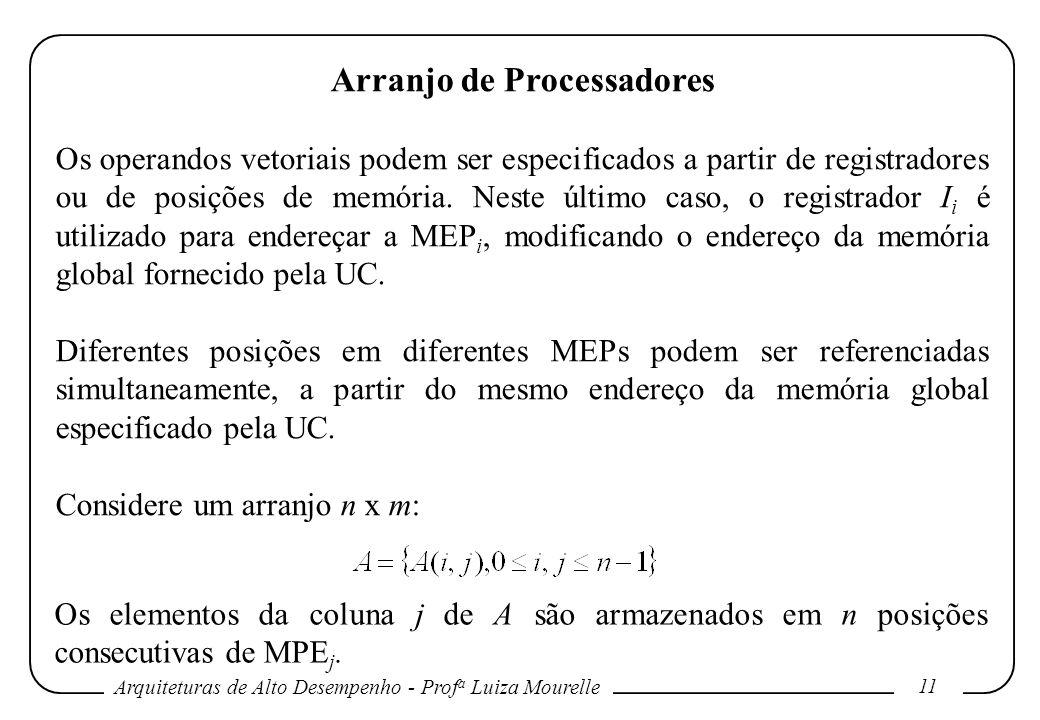 Arquiteturas de Alto Desempenho - Prof a Luiza Mourelle 11 Arranjo de Processadores Os operandos vetoriais podem ser especificados a partir de registradores ou de posições de memória.