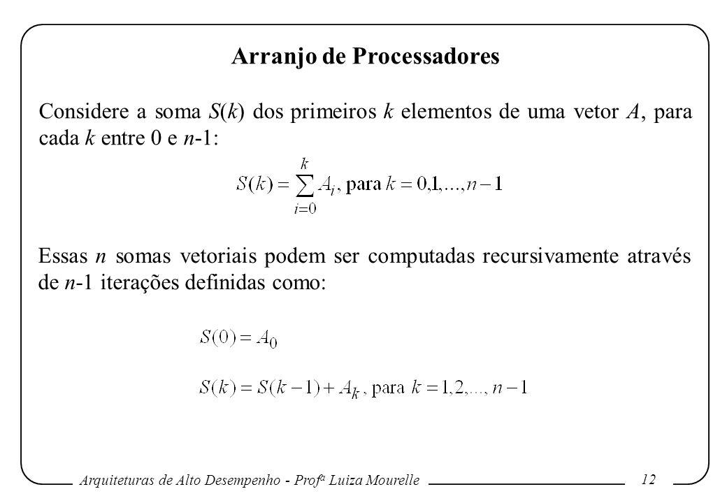 Arquiteturas de Alto Desempenho - Prof a Luiza Mourelle 12 Arranjo de Processadores Considere a soma S(k) dos primeiros k elementos de uma vetor A, para cada k entre 0 e n-1: Essas n somas vetoriais podem ser computadas recursivamente através de n-1 iterações definidas como: