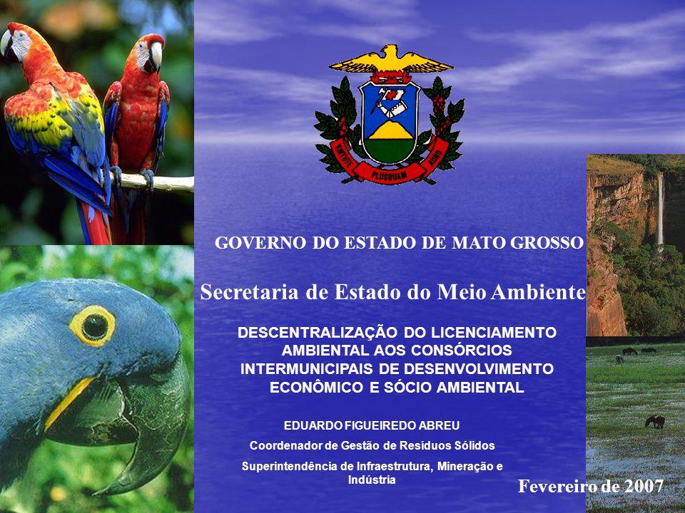 Secretaria de Estado do Meio Ambiente GOVERNO DO ESTADO DE MATO GROSSO DESCENTRALIZAÇÃO DO LICENCIAMENTO AMBIENTAL AOS CONSÓRCIOS INTERMUNICIPAIS DE DESENVOLVIMENTO ECONÔMICO E SÓCIO AMBIENTAL EDUARDO FIGUEIREDO ABREU Coordenador de Gestão de Resíduos Sólidos Superintendência de Infraestrutura, Mineração e Indústria Fevereiro de 2007