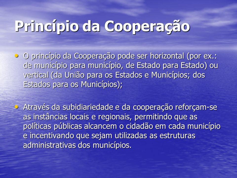 Princípio da Cooperação O princípio da Cooperação pode ser horizontal (por ex.: de município para município, de Estado para Estado) ou vertical (da Un