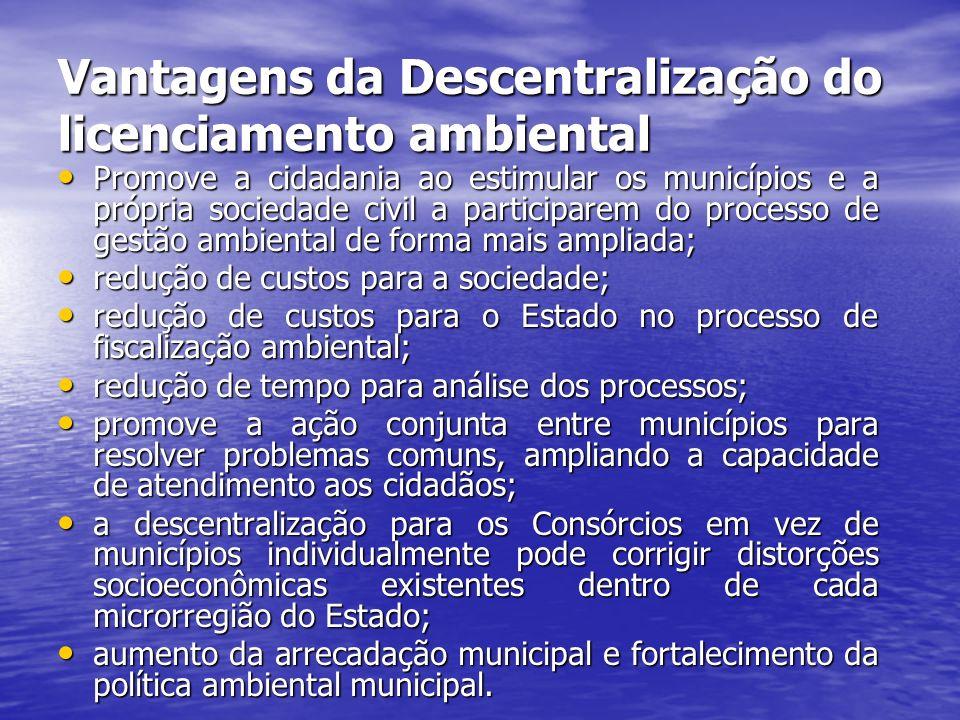 Vantagens da Descentralização do licenciamento ambiental Promove a cidadania ao estimular os municípios e a própria sociedade civil a participarem do processo de gestão ambiental de forma mais ampliada; Promove a cidadania ao estimular os municípios e a própria sociedade civil a participarem do processo de gestão ambiental de forma mais ampliada; redução de custos para a sociedade; redução de custos para a sociedade; redução de custos para o Estado no processo de fiscalização ambiental; redução de custos para o Estado no processo de fiscalização ambiental; redução de tempo para análise dos processos; redução de tempo para análise dos processos; promove a ação conjunta entre municípios para resolver problemas comuns, ampliando a capacidade de atendimento aos cidadãos; promove a ação conjunta entre municípios para resolver problemas comuns, ampliando a capacidade de atendimento aos cidadãos; a descentralização para os Consórcios em vez de municípios individualmente pode corrigir distorções socioeconômicas existentes dentro de cada microrregião do Estado; a descentralização para os Consórcios em vez de municípios individualmente pode corrigir distorções socioeconômicas existentes dentro de cada microrregião do Estado; aumento da arrecadação municipal e fortalecimento da política ambiental municipal.