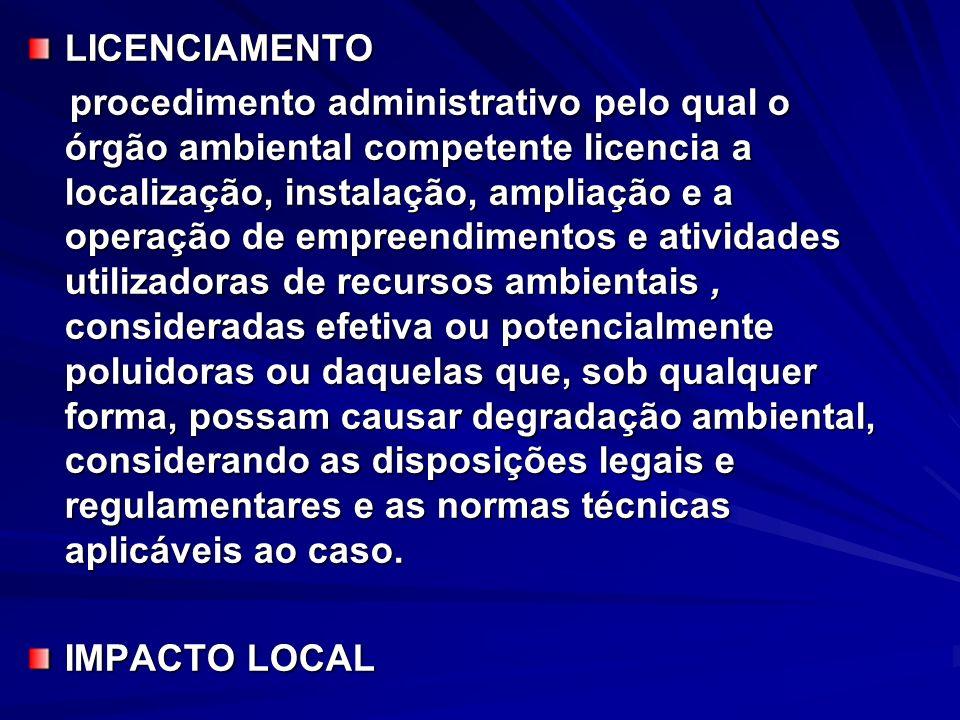 LICENCIAMENTO procedimento administrativo pelo qual o órgão ambiental competente licencia a localização, instalação, ampliação e a operação de empreen