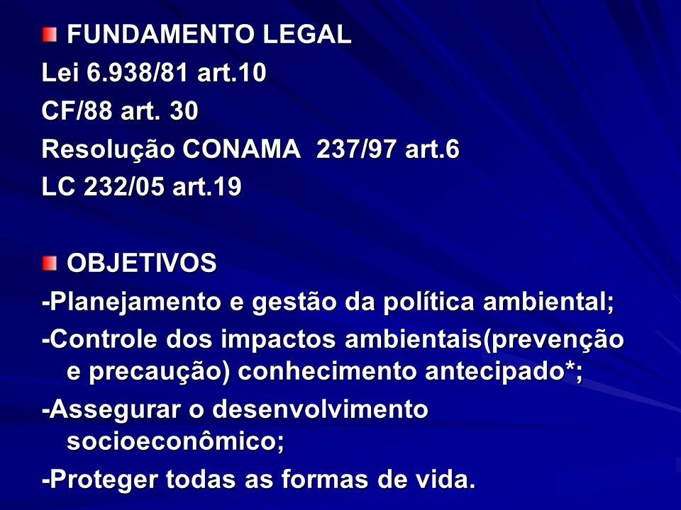FUNDAMENTO LEGAL Lei 6.938/81 art.10 CF/88 art. 30 Resolução CONAMA 237/97 art.6 LC 232/05 art.19 OBJETIVOS -Planejamento e gestão da política ambient
