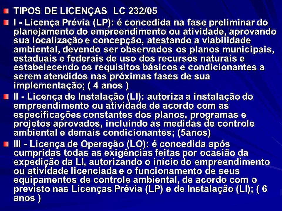 TIPOS DE LICENÇAS LC 232/05 I - Licença Prévia (LP): é concedida na fase preliminar do planejamento do empreendimento ou atividade, aprovando sua localização e concepção, atestando a viabilidade ambiental, devendo ser observados os planos municipais, estaduais e federais de uso dos recursos naturais e estabelecendo os requisitos básicos e condicionantes a serem atendidos nas próximas fases de sua implementação; ( 4 anos ) II - Licença de Instalação (LI): autoriza a instalação do empreendimento ou atividade de acordo com as especificações constantes dos planos, programas e projetos aprovados, incluindo as medidas de controle ambiental e demais condicionantes; (5anos) III - Licença de Operação (LO): é concedida após cumpridas todas as exigências feitas por ocasião da expedição da LI, autorizando o início do empreendimento ou atividade licenciada e o funcionamento de seus equipamentos de controle ambiental, de acordo com o previsto nas Licenças Prévia (LP) e de Instalação (LI); ( 6 anos )