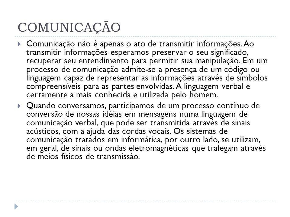 COMUNICAÇÃO Comunicação não é apenas o ato de transmitir informações. Ao transmitir informações esperamos preservar o seu significado, recuperar seu e