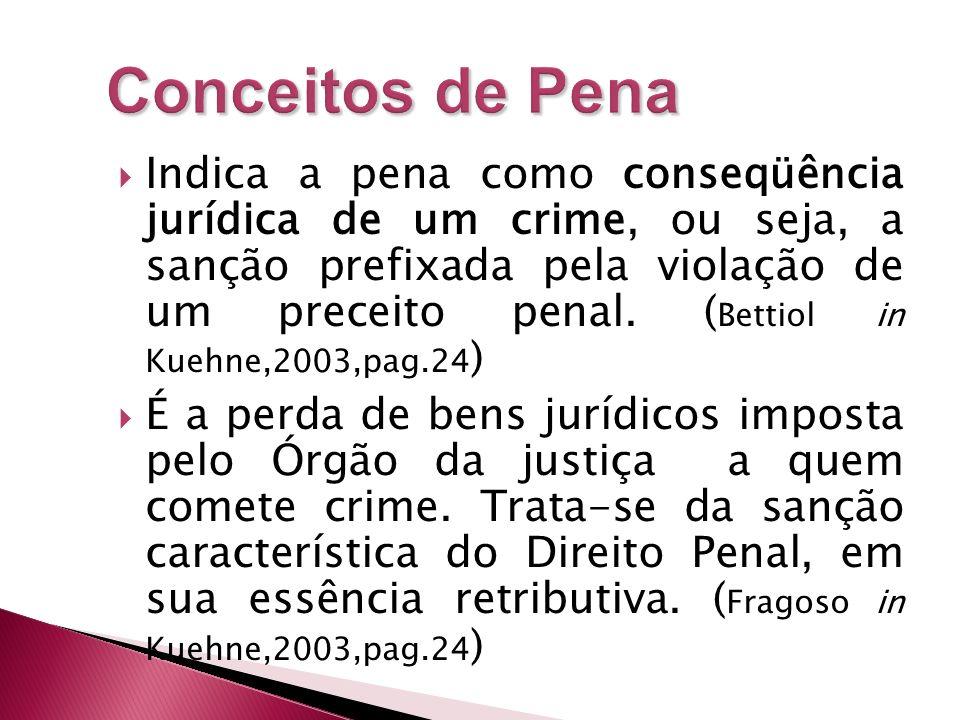 Indica a pena como conseqüência jurídica de um crime, ou seja, a sanção prefixada pela violação de um preceito penal. ( Bettiol in Kuehne,2003,pag.24