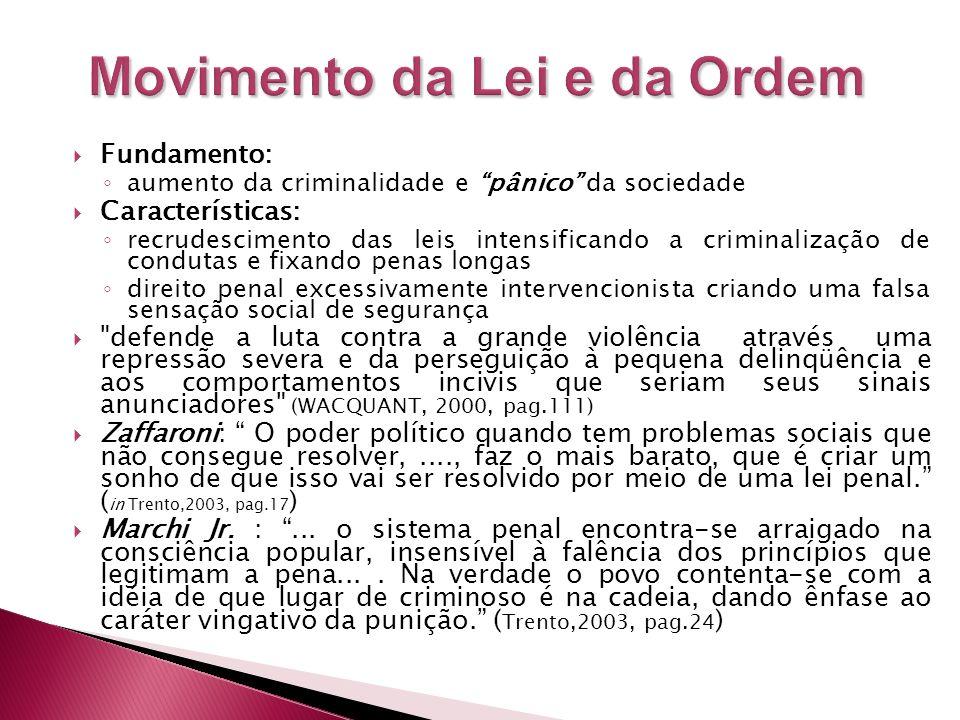 Fundamento: aumento da criminalidade e pânico da sociedade Características: recrudescimento das leis intensificando a criminalização de condutas e fix