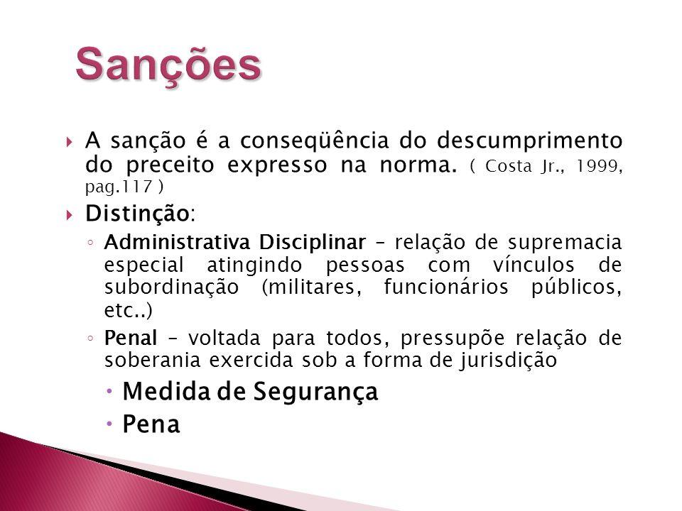 A sanção é a conseqüência do descumprimento do preceito expresso na norma. ( Costa Jr., 1999, pag.117 ) Distinção: Administrativa Disciplinar – relaçã