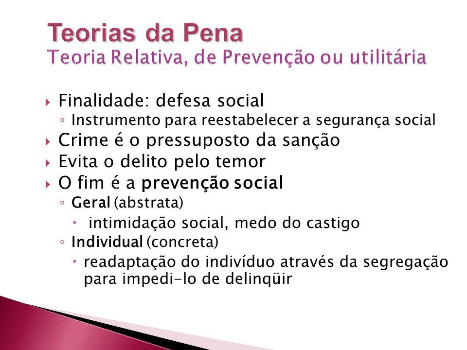 Finalidade: defesa social Instrumento para reestabelecer a segurança social Crime é o pressuposto da sanção Evita o delito pelo temor O fim é a preven