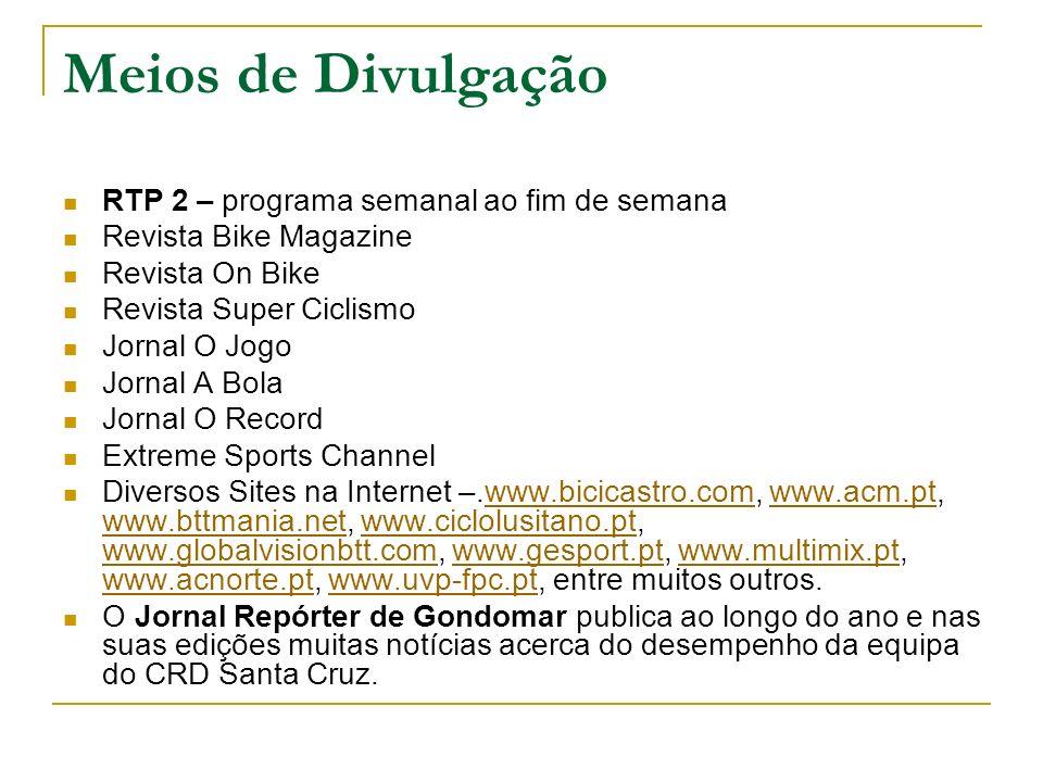 Meios de Divulgação RTP 2 – programa semanal ao fim de semana Revista Bike Magazine Revista On Bike Revista Super Ciclismo Jornal O Jogo Jornal A Bola