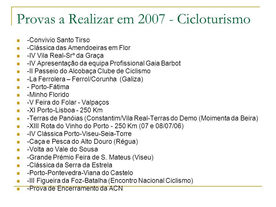 Provas a Realizar em 2007 - Cicloturismo -Convivio Santo Tirso -Clássica das Amendoeiras em Flor -IV Vila Real-Srª da Graça -IV Apresentação da equipa