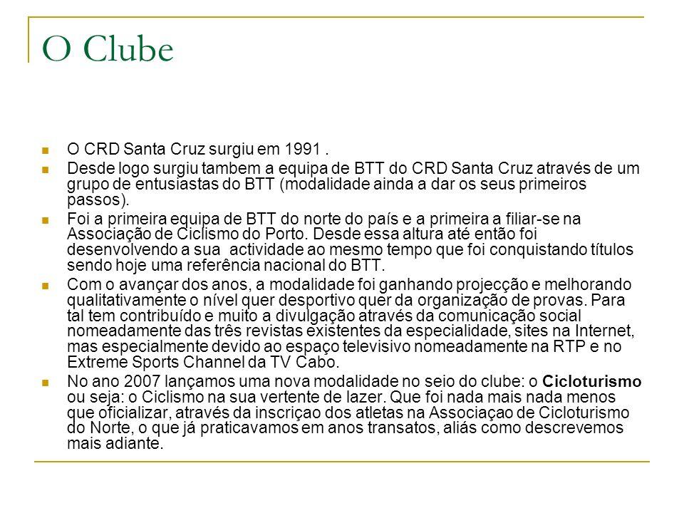 O Clube O CRD Santa Cruz surgiu em 1991. Desde logo surgiu tambem a equipa de BTT do CRD Santa Cruz através de um grupo de entusiastas do BTT (modalid