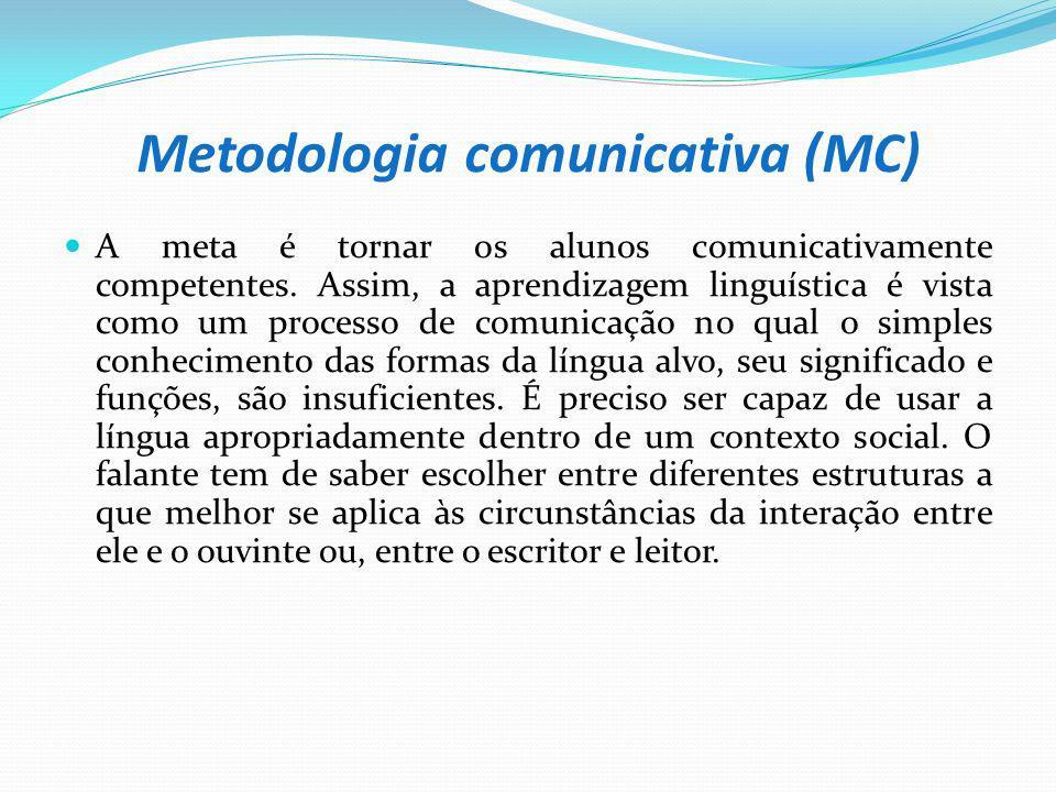 Metodologia comunicativa (MC) A meta é tornar os alunos comunicativamente competentes. Assim, a aprendizagem linguística é vista como um processo de c