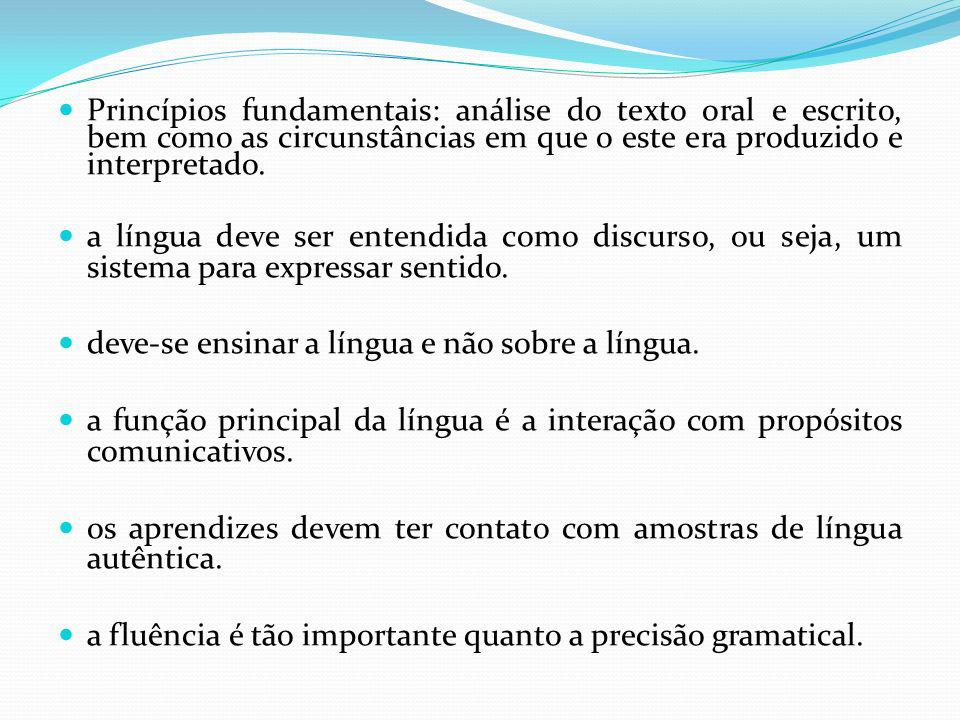 Princípios fundamentais: análise do texto oral e escrito, bem como as circunstâncias em que o este era produzido e interpretado. a língua deve ser ent