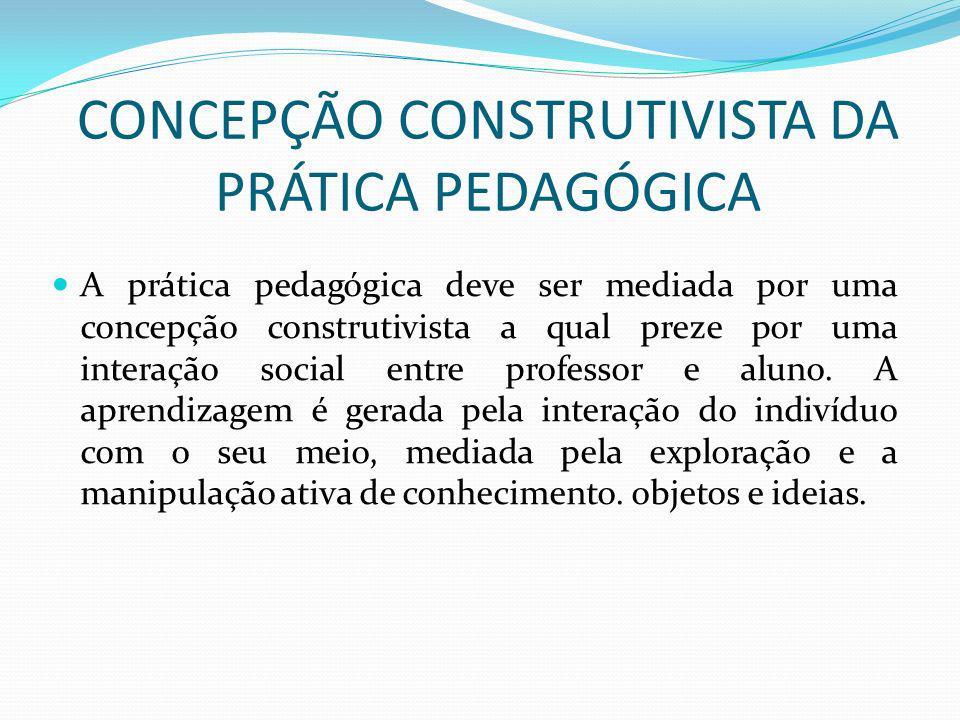 CONCEPÇÃO CONSTRUTIVISTA DA PRÁTICA PEDAGÓGICA A prática pedagógica deve ser mediada por uma concepção construtivista a qual preze por uma interação social entre professor e aluno.