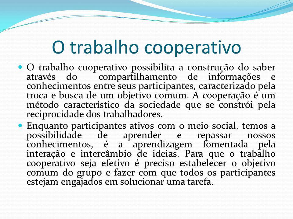O trabalho cooperativo O trabalho cooperativo possibilita a construção do saber através do compartilhamento de informações e conhecimentos entre seus participantes, caracterizado pela troca e busca de um objetivo comum.
