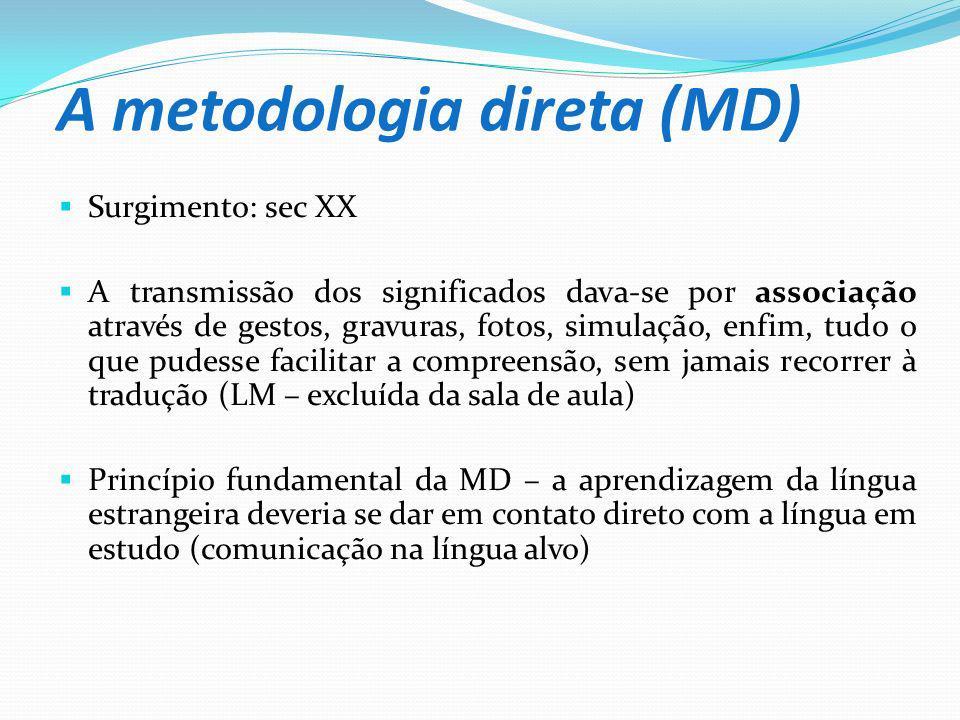 A metodologia direta (MD) Surgimento: sec XX A transmissão dos significados dava-se por associação através de gestos, gravuras, fotos, simulação, enfi