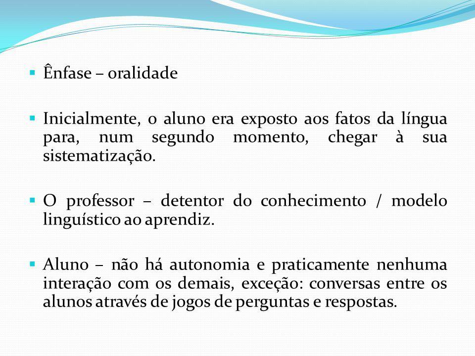 Ênfase – oralidade Inicialmente, o aluno era exposto aos fatos da língua para, num segundo momento, chegar à sua sistematização. O professor – detento
