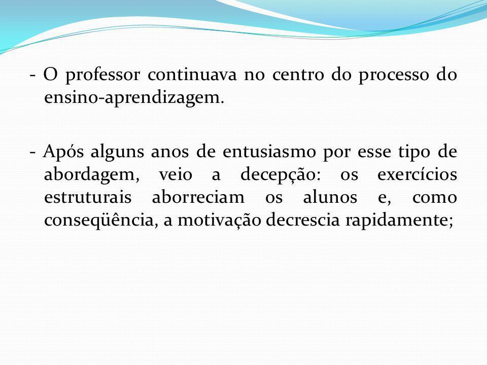 - O professor continuava no centro do processo do ensino-aprendizagem.