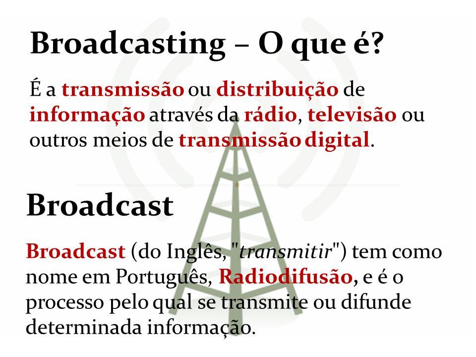 Broadcasting – O que é? É a transmissão ou distribuição de informação através da rádio, televisão ou outros meios de transmissão digital. Broadcast Br
