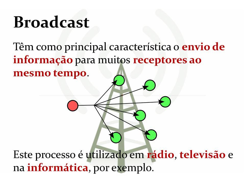 Broadcast Têm como principal característica o envio de informação para muitos receptores ao mesmo tempo. Este processo é utilizado em rádio, televisão