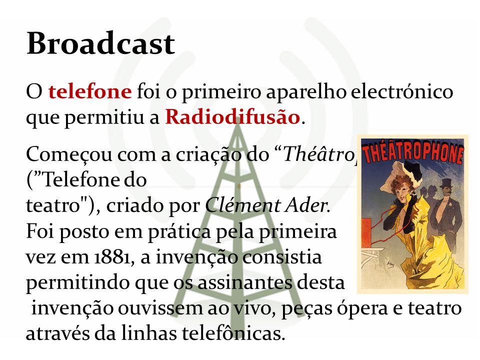 Broadcast O telefone foi o primeiro aparelho electrónico que permitiu a Radiodifusão. Começou com a criação do Théâtrophone (Telefone do teatro