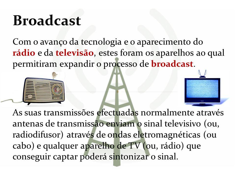 Broadcast Com o avanço da tecnologia e o aparecimento do rádio e da televisão, estes foram os aparelhos ao qual permitiram expandir o processo de broa