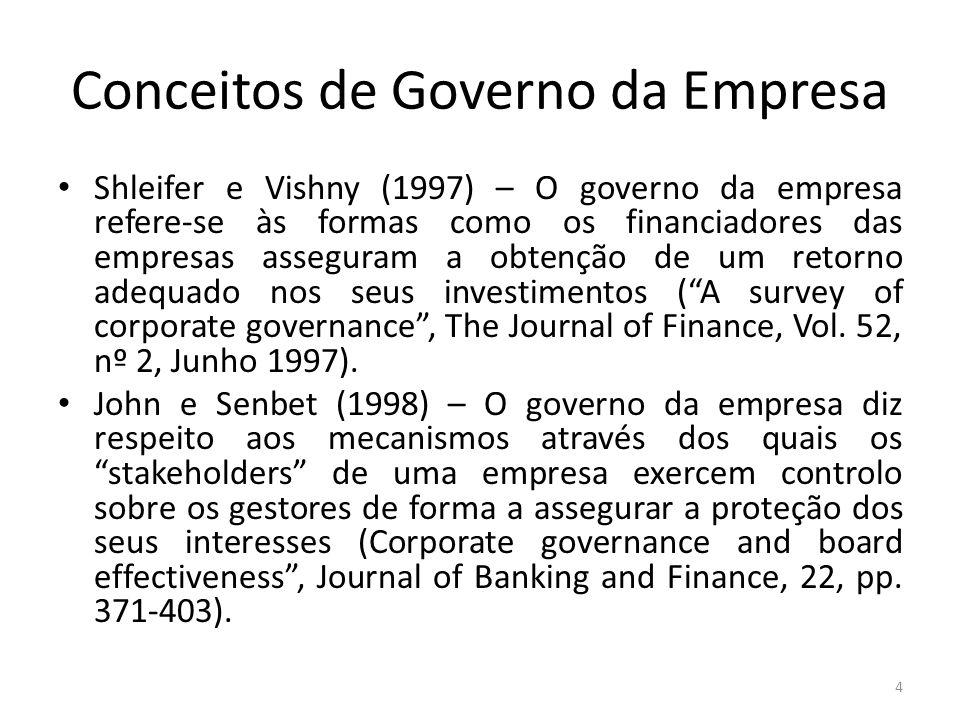 Conceitos de Governo da Empresa Shleifer e Vishny (1997) – O governo da empresa refere-se às formas como os financiadores das empresas asseguram a obtenção de um retorno adequado nos seus investimentos (A survey of corporate governance, The Journal of Finance, Vol.