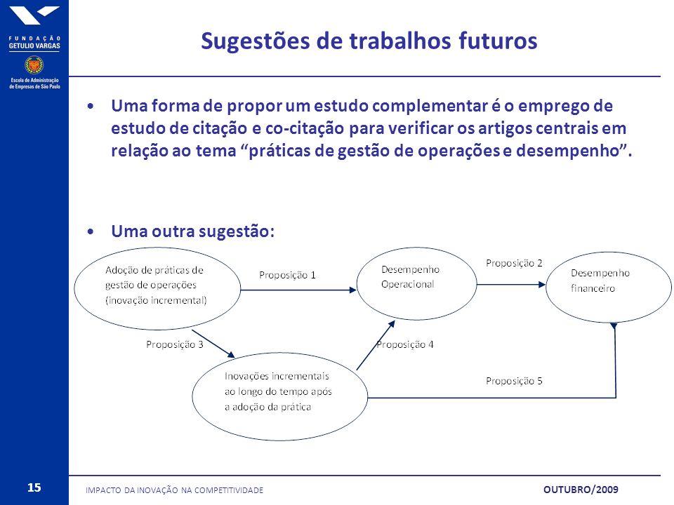 15 Sugestões de trabalhos futuros IMPACTO DA INOVAÇÃO NA COMPETITIVIDADE 15 OUTUBRO/2009 Uma forma de propor um estudo complementar é o emprego de est