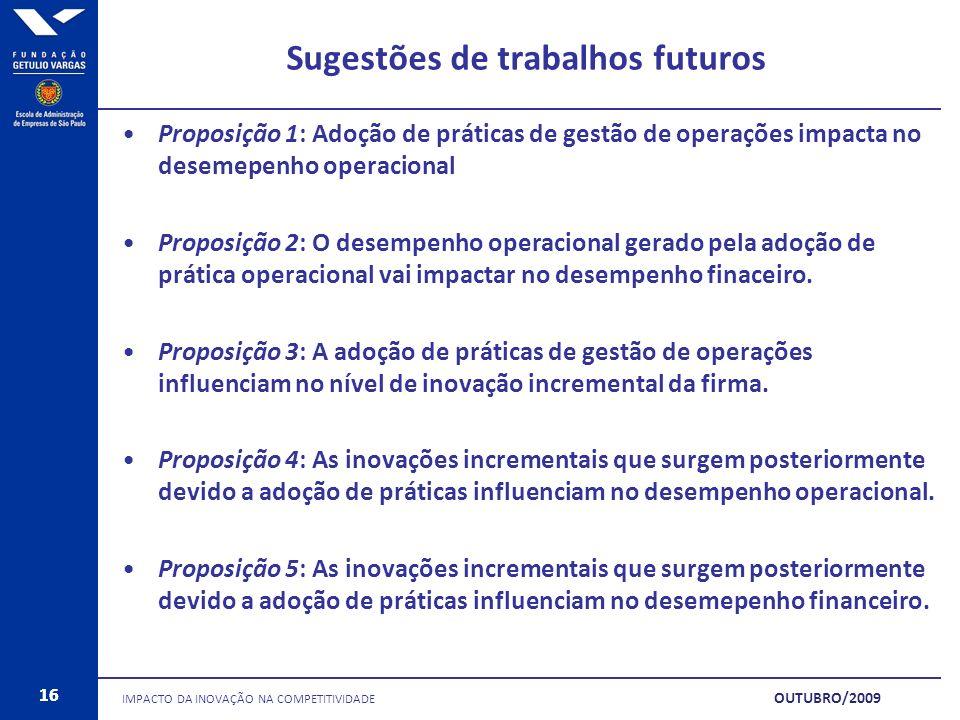 16 Sugestões de trabalhos futuros Proposição 1: Adoção de práticas de gestão de operações impacta no desemepenho operacional Proposição 2: O desempenh