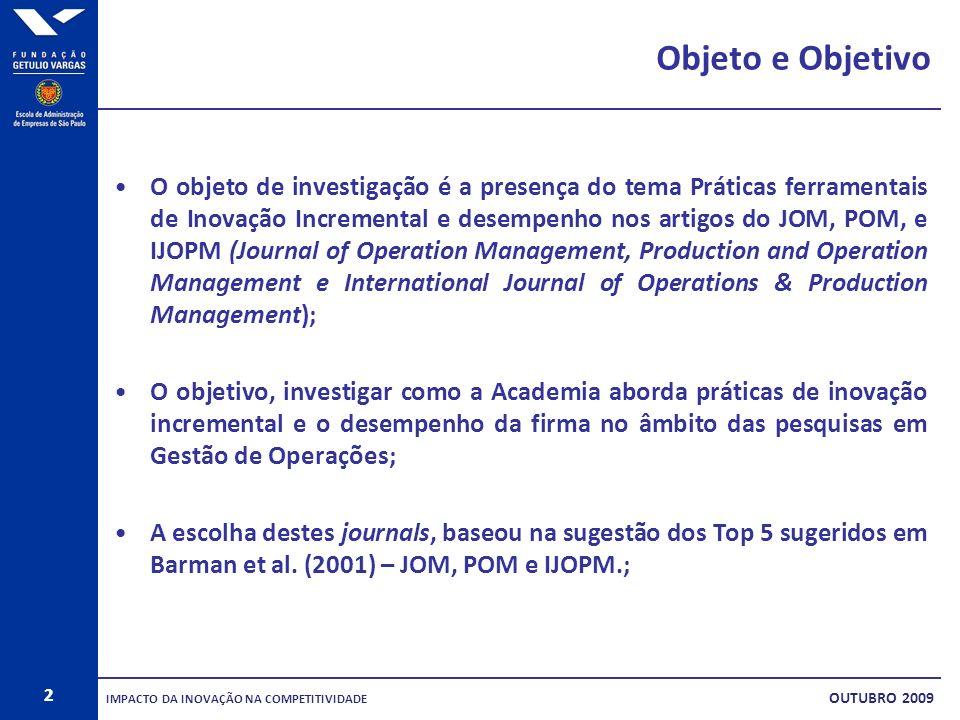 2 Objeto e Objetivo O objeto de investigação é a presença do tema Práticas ferramentais de Inovação Incremental e desempenho nos artigos do JOM, POM,