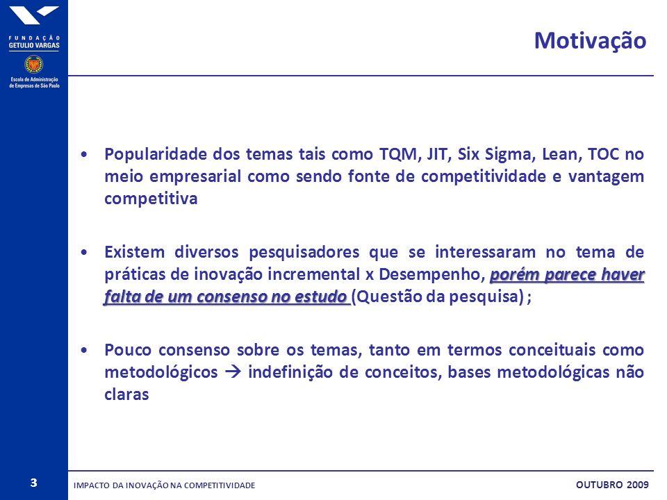 3 Motivação Popularidade dos temas tais como TQM, JIT, Six Sigma, Lean, TOC no meio empresarial como sendo fonte de competitividade e vantagem competi