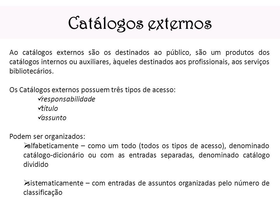 Catálogos externos Ao catálogos externos são os destinados ao público, são um produtos dos catálogos internos ou auxiliares, àqueles destinados aos pr