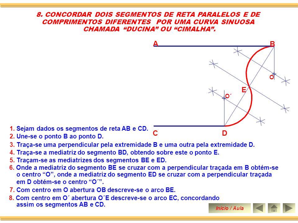 8.Com centro em O´ abertura O´E descreve-se o arco EC, concordando assim os segmentos AB e CD.