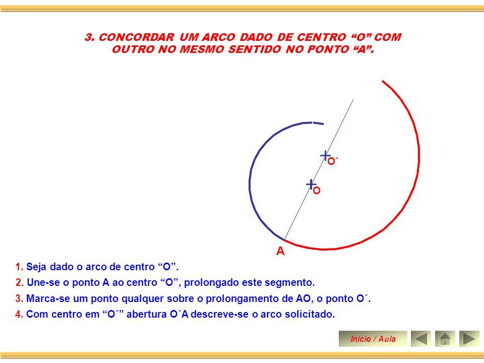 2.CONCORDAR UM ARCO DADO DE CENTRO O COM OUTRO DE SENTIDO CONTRÁRIO NO PONTO A.
