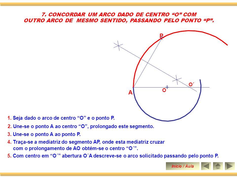 5.Traça-se uma perpendicular a reta R passando pelo centro O´ obtendo sobre R o ponto B.