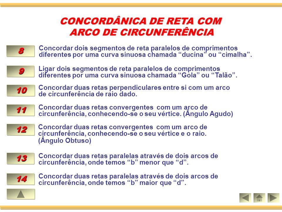 10.CONCORDAR DUAS RETAS PERPENDICULARES ENTRE SI COM UM ARCO DE CIRCUNFERÊNCIA DE RAIO DADO.