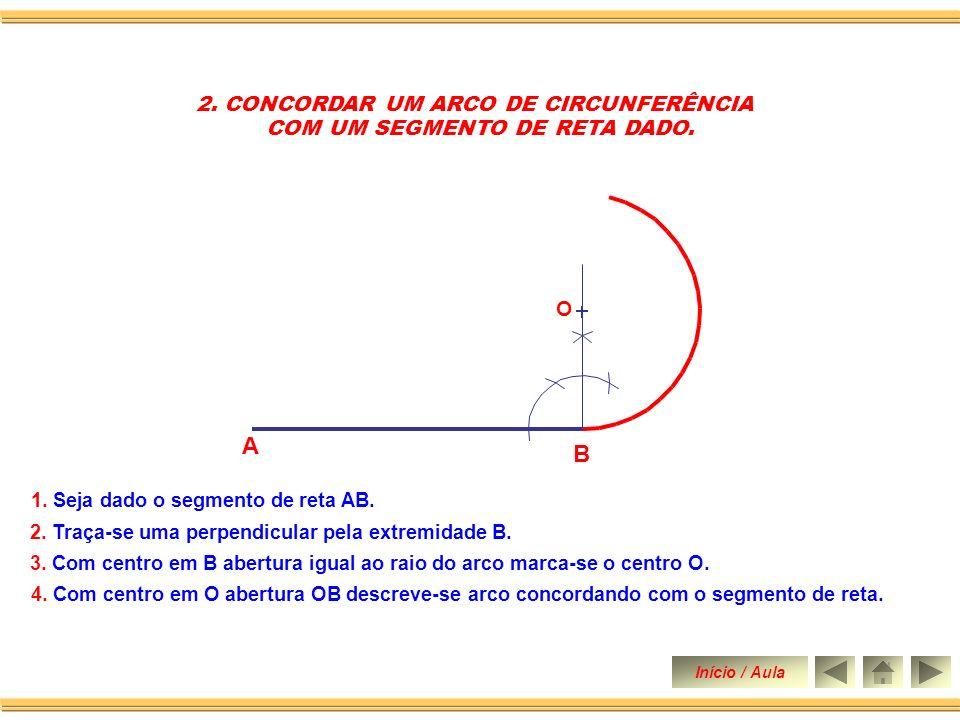 2.CONCORDAR UM ARCO DE CIRCUNFERÊNCIA COM UM SEGMENTO DE RETA DADO.