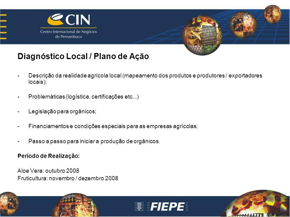 Diagnóstico Local / Plano de Ação -Descrição da realidade agrícola local (mapeamento dos produtos e produtores / exportadores locais); -Problemáticas (logística, certificações etc...) -Legislação para orgânicos; -Financiamentos e condições especiais para as empresas agrícolas; -Passo a passo para iniciar a produção de orgânicos.