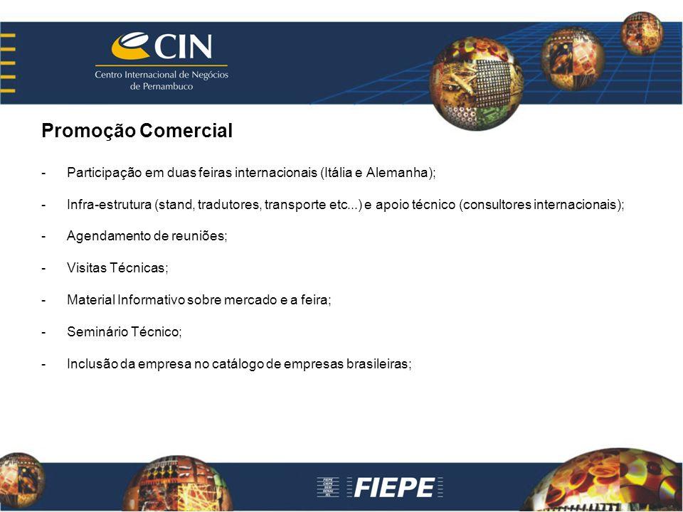 Promoção Comercial -Participação em duas feiras internacionais (Itália e Alemanha); -Infra-estrutura (stand, tradutores, transporte etc...) e apoio té