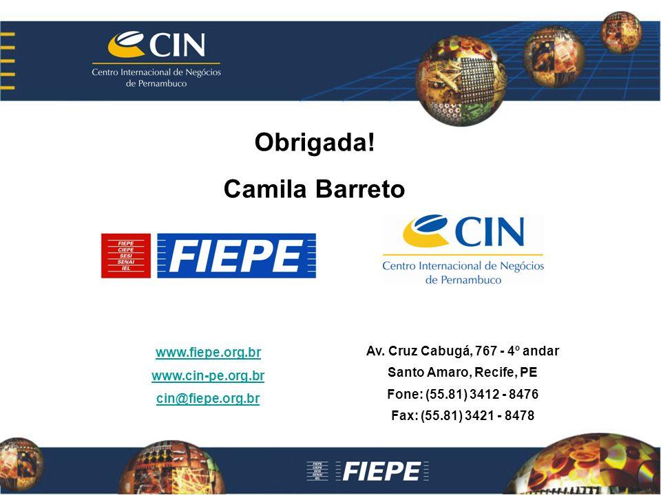 www.fiepe.org.br www.cin-pe.org.br cin@fiepe.org.br Av. Cruz Cabugá, 767 - 4º andar Santo Amaro, Recife, PE Fone: (55.81) 3412 - 8476 Fax: (55.81) 342