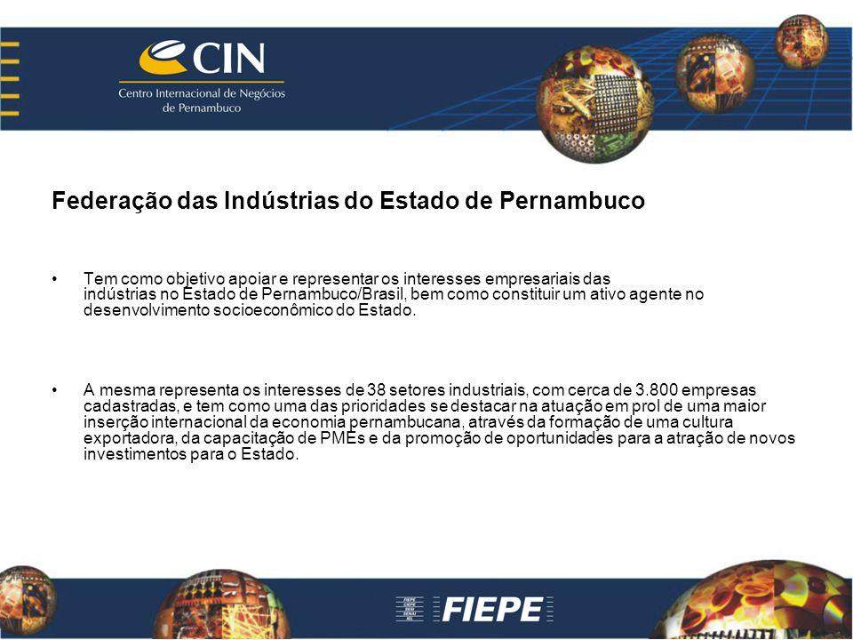 Federação das Indústrias do Estado de Pernambuco Tem como objetivo apoiar e representar os interesses empresariais das indústrias no Estado de Pernambuco/Brasil, bem como constituir um ativo agente no desenvolvimento socioeconômico do Estado.