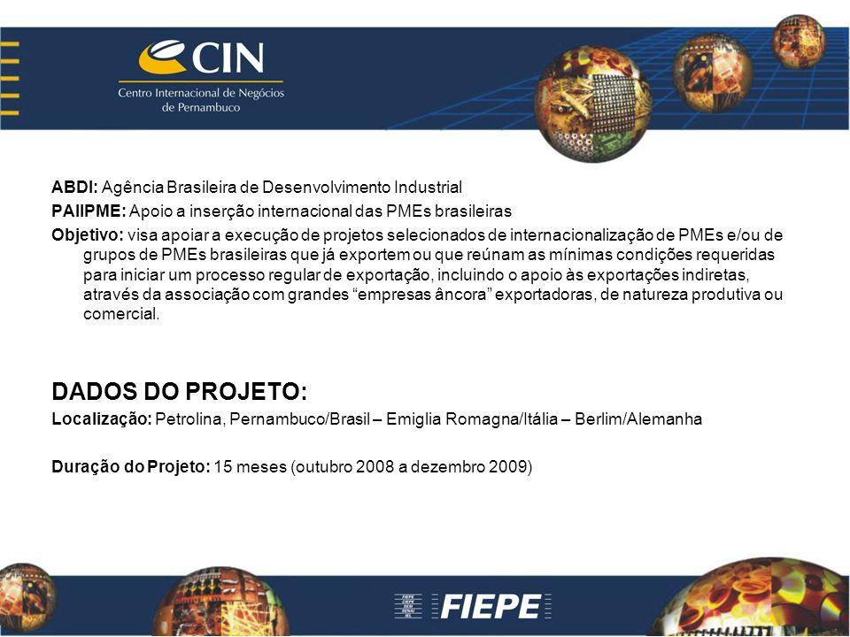 ABDI: Agência Brasileira de Desenvolvimento Industrial PAIIPME: Apoio a inserção internacional das PMEs brasileiras Objetivo: visa apoiar a execução d