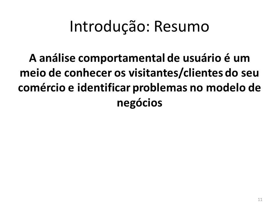 Introdução: Resumo A análise comportamental de usuário é um meio de conhecer os visitantes/clientes do seu comércio e identificar problemas no modelo