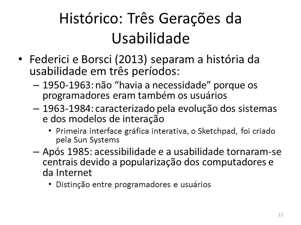Histórico: Três Gerações da Usabilidade Federici e Borsci (2013) separam a história da usabilidade em três períodos: – 1950-1963: não havia a necessid