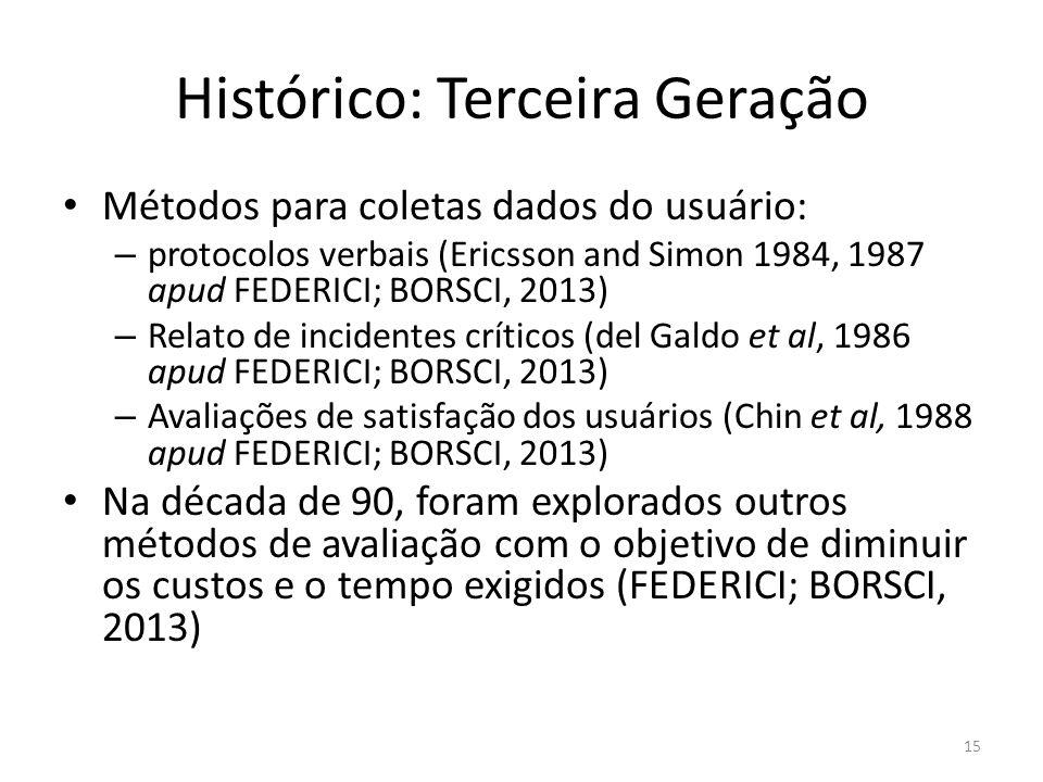 Histórico: Terceira Geração Métodos para coletas dados do usuário: – protocolos verbais (Ericsson and Simon 1984, 1987 apud FEDERICI; BORSCI, 2013) –
