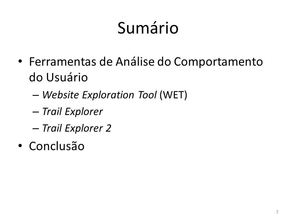 Sumário Ferramentas de Análise do Comportamento do Usuário – Website Exploration Tool (WET) – Trail Explorer – Trail Explorer 2 Conclusão 3