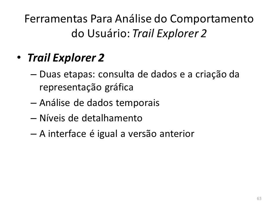 Ferramentas Para Análise do Comportamento do Usuário: Trail Explorer 2 Trail Explorer 2 – Duas etapas: consulta de dados e a criação da representação